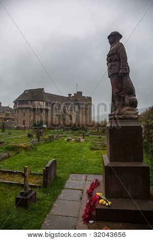 Soldier Monument Guards Stokesay Castle