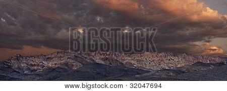 Panoramic Of Gabbs Mountain Range At Sunset