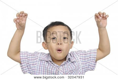 portrait of an innocent little boy flexing biceps isolated