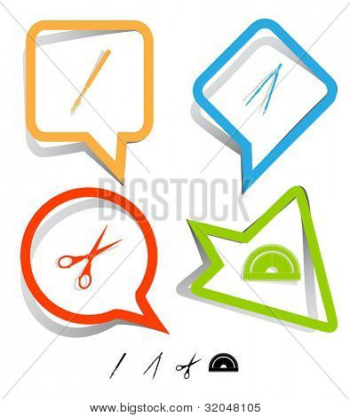 Education icon set. Scissors, ruling pen, protractor, caliper. Paper stickers. Vector illustration.