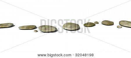 An image of some black pebbles on white background