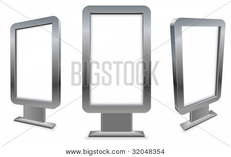 3D metal stand alone city pavement advertising display isolated on white background.
