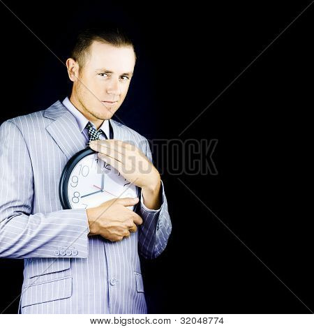 Business Person Hugging Clock