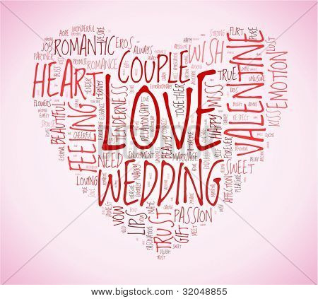 Love and wedding concept in word tag cloud on pink background