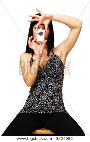 Young Woman Taking Pictures.