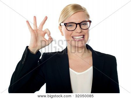 Successful Business Woman Posing With Ok Sign