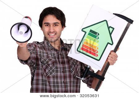 Man holding megaphone and electrical efficiency banner
