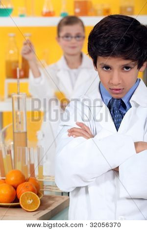 angry child in laboratory