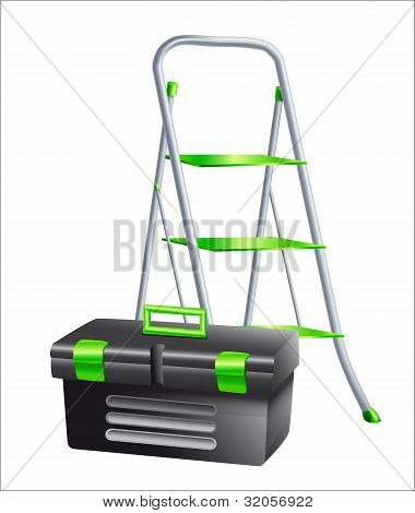 Metal Ladder And A Black Tool Box
