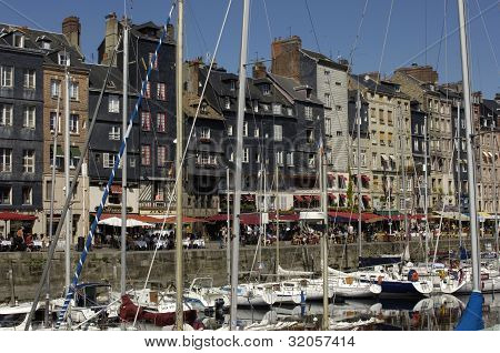 France, Picturesque Vieux Bassin Of Honfleur In Normandie