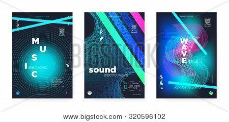 poster of Light Electro Music. Electronic Sound Background. Vibrant Dj Beats. Wave Stripes. Vibrant Music Bann