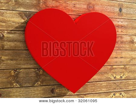 Heart Shape On Wood Background