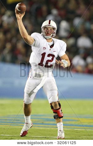 PASADENA, CA. - SEPT 11: Stanford Cardinal QB Andrew Luck #12 in action during the UCLA vs Stanford game on Sept 11 2010 at the Rose Bowl.
