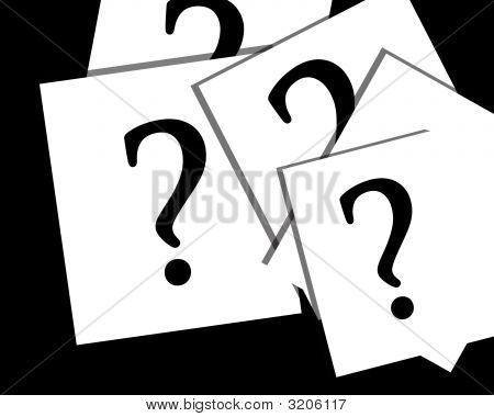 Question Marks On White Papers
