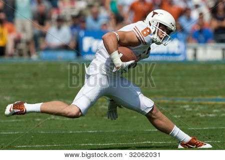 PASADENA, CA. - SEP 17: Texas Longhorns WR Jaxon Shipley #8 in action during the NCAA Football game between the Texas Longhorns & the UCLA Bruins on Sep 17 2011 at the Rose Bowl.