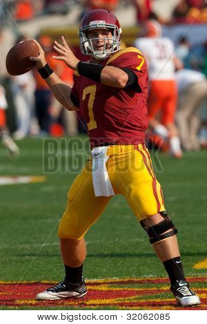 LOS ANGELES - SEP 17: USC Trojans QB Matt Barkley #7 during the NCAA Football game between the Syracuse Oranges & the USC Trojans on Sep 17 2011 at the Memorial Coliseum.