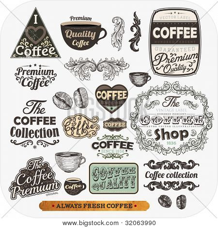 Set of vintage retro coffee labels, engraving cups and coffee beans. Vintage frames and badges for design