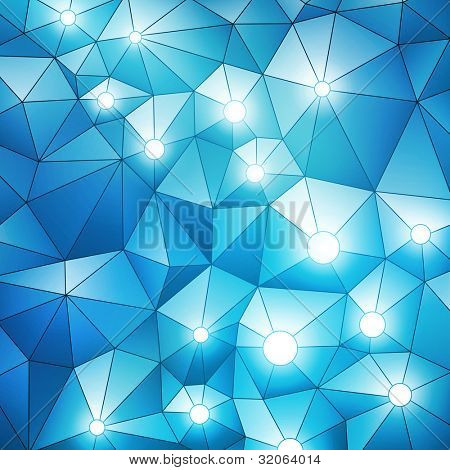 Blue spatial banner with glowing lights, vector eps10 illustration