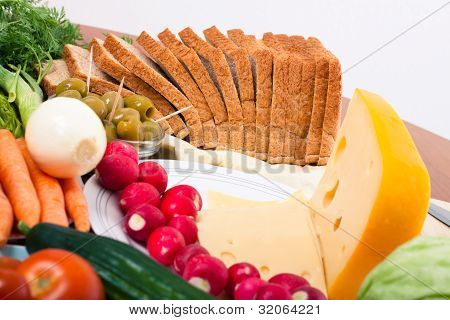Cheese, Bread And Vegetable