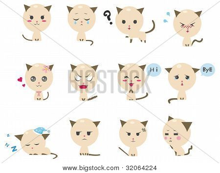 Cute Kitten Emotional Icons