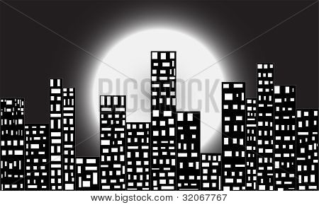 A city in moon light