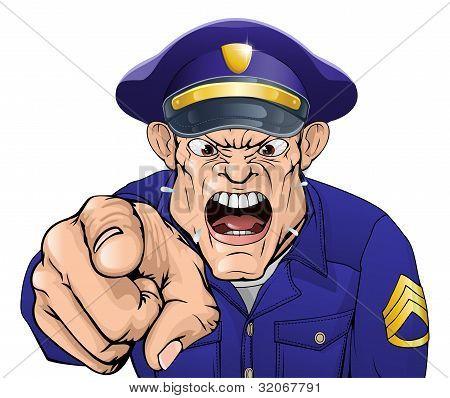 Policía enojado