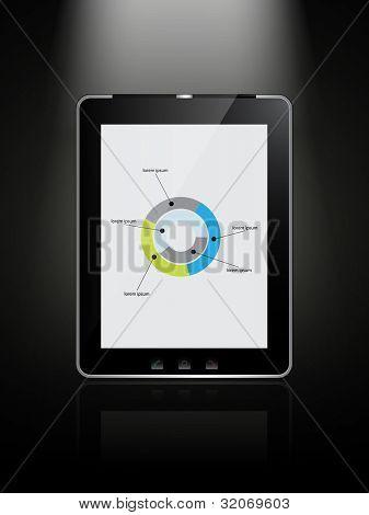 almofada de tablet vetor - preto com uma tela branca no infográfico elemento e uma reflexão sobre um bac preto