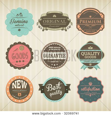Icons with Labels in vintage and retro design