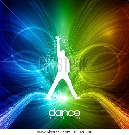 EPS10 Party People Vector Background - Dancing Young Men