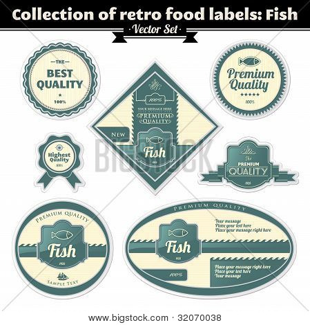 Collection Of Retro Food Labels. Fish