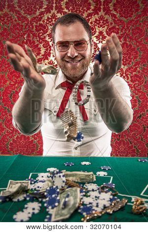 Smiling Man Wins Big Money at Blackjack