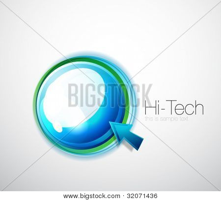 Hi-tech glossy aqua bubble background and mouse pointer