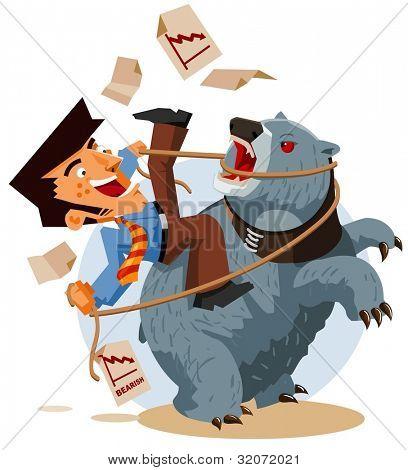 Deal with Bearish Market. Vector Illustration