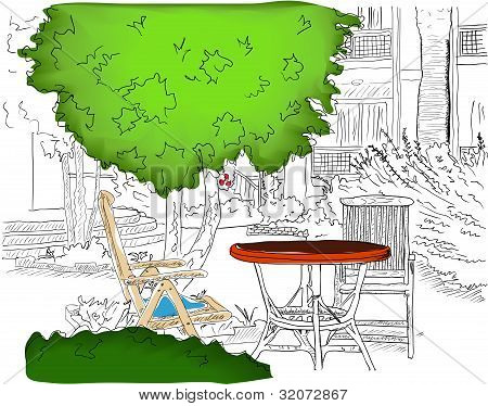 Cafe in the Garden. Partially colored version.