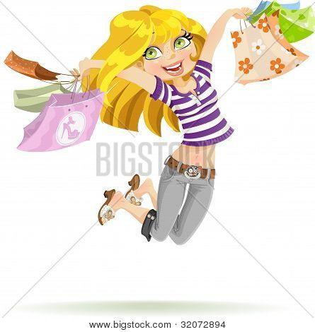 Girl shopaholic with shopping bags on white background