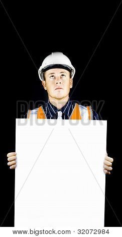 Safety Officer Holding Blank Sign