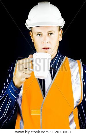 Construction Worker Having Coffee