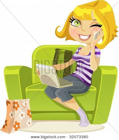 blonde sitting in chair with laptop and talking on phone