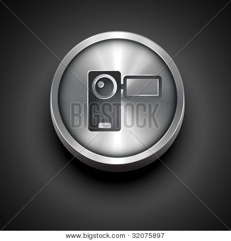 vector video camera metallic icon isolated on dark background