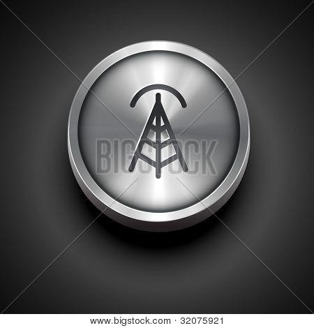 icono metálico de Vector inalámbrico wifi aislado sobre fondo oscuro