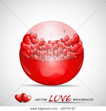 Vector illustration red crystal ball filled with heart shapes, isolated on grey background. EPS 10. Vector illustration.