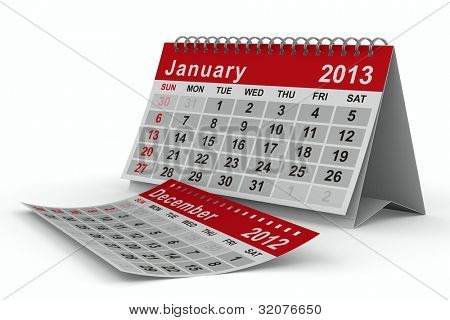 2013 year calendar. January. Isolated 3D image