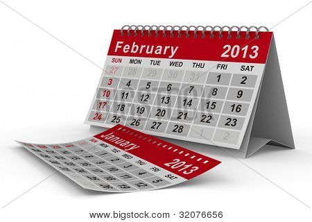 2013 year calendar. February. Isolated 3D image