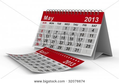 2013 year calendar. May. Isolated 3D image