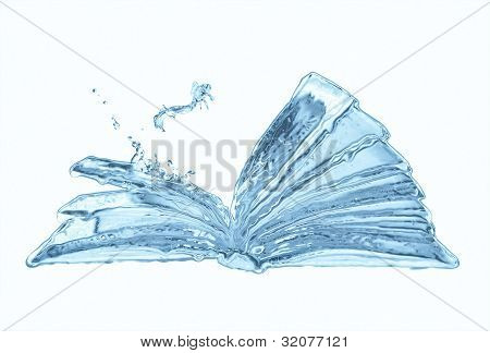 Water Book And Small Jumping Fish Isolated On White