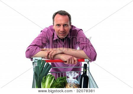 Man Leans On Shopping Cart