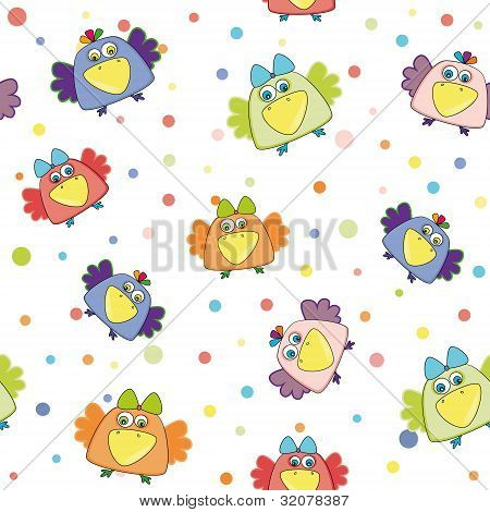 Seamless Vector Pattern With Multi-colored Birds