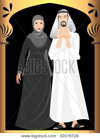 Arabic Muslim couple wearing traditional dress. Vector illustration in EPS 10.