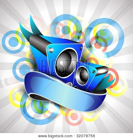 Illustration on a musical theme colorful abstract on rays background  with speaker and ribbon.EPS 10, can be use as banner, flyer or poster for disco party and other events.