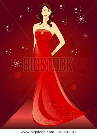 Beautiful model on ramp with sparkling background. EPS 10, vector illustration.